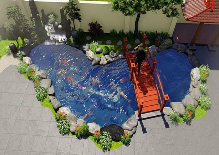 Cách xây hồ cá trước nhà theo phong thủy